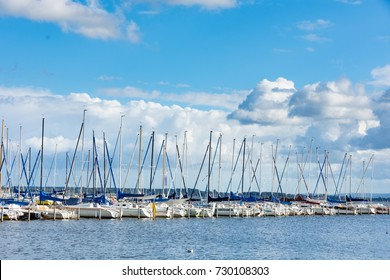 Pier with sailboats at Lake Steinhude in Mardorf
