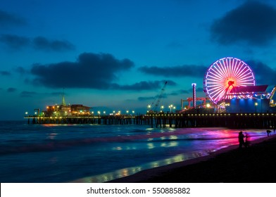 Pier in Santa Monica at night, Los Angeles, California, USA