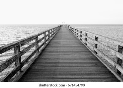 pier Schoenberger beach at the Baltic Sea Germany in black and white