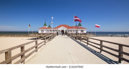 pier in the seaside resort in Ahlbeck, may 2018