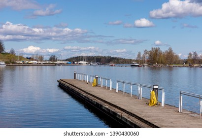 Pier for small boats in Lappeenranta. Finland.