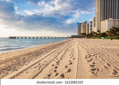 Pier in Sunny Isles Beach. Sunny Isles Beach, Florida, USA.