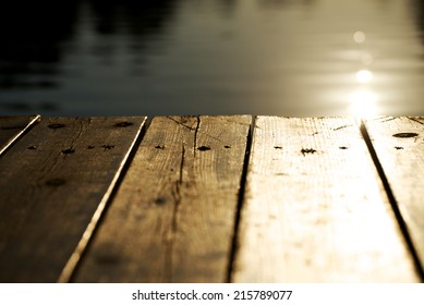 Pier at sunset, selective focus