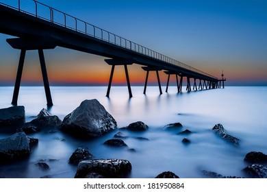 Pier at twilight (long exposure).