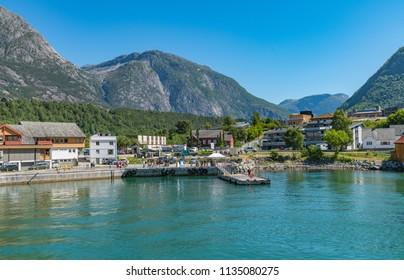 Pier in the village of Eidfjord. National park Hardangervidda, Norway, Europe.