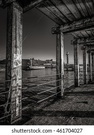 Pier in Whitby, Yorkshire England UK