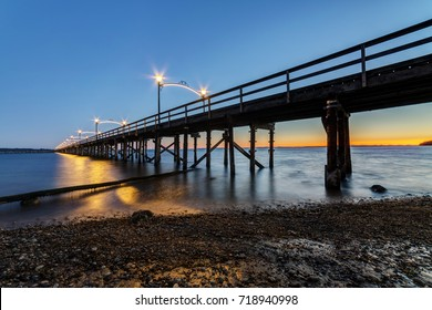 Pier in White Rock at twilight. Surrey, BC, Canada.