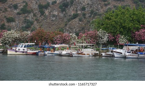 Pier for yachts and boats at a resort on the river Dalyan. Dalyan, Turkey, May 29, 2018
