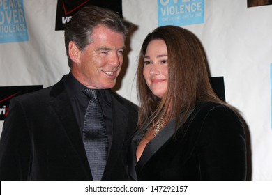 Pierce Brosnan & Wife Keely Shaye Smith Brosnan arriving at the Peace over Violence 38th Annual Humanitarian Awards Beverly Hills Hotel Beverly Hills,  CA November 6, 2009
