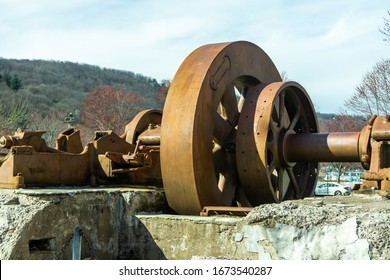 Piermont, NY / United States - March 14, 2020: Landscape view of the historic Flywheel