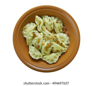 Pierogi ruskie dumplings  which various topping.Popular in Galicia and Transcarpathia