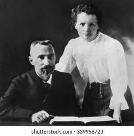 Pierre Curie and Marie Sklodowska Curie (1867-1934), c. 1903. The couple shared the 1903 Nobel Prize in Physics with physicist Henri Becquerel
