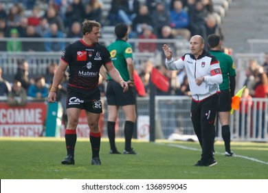 Pierre Mignoni coach of Lyon and Deon Fourie of Lyon during the French championship Top 14 rugby union match between Lyon OU and USA Perpignan on April 13, 2019 at Matmut stadium in Lyon, France