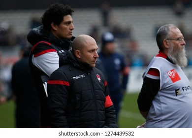 Pierre Mignoni coach of Lyon and Karim Ghezal coach of Lyon during the French championship Top 14 rugby union match between Lyon OU and SU Agen on December 29, 2018 at Matmut stadium in Lyon, France