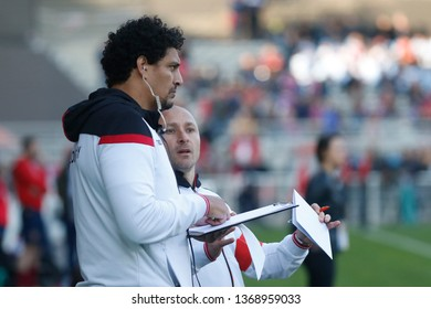 Pierre Mignoni coach of Lyon and Karim Ghezal ass coach of Lyon during the French championship Top 14 rugby match between Lyon OU and USA Perpignan on April 13, 2019 at Matmut stadium in Lyon, France