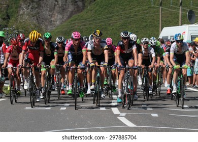 PIERRE SAINT-MARTIN, FRANCE, July 14, 2015 : The gruppetto in the last climb of the 10th stage of Tour de France. Grupetto is the name given to a large group behind the leading peloton.