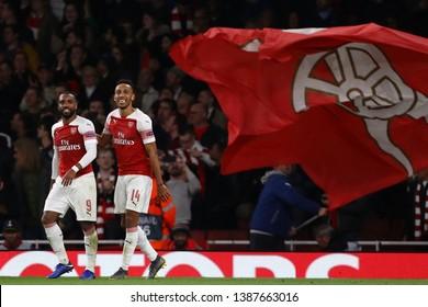 Pierre-Emerick Aubameyang and Alexandre Lacazette of Arsenal after scoring his sides third goal - Arsenal v Valencia, UEFA Europa League Semi Final - 1st Leg, Emirates Stadium, London 2nd May 2019