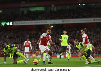 Pierre-Emerick Aubameyang of Arsenal gets through the Huddersfield Town defence - Arsenal v Huddersfield Town, Premier League, Emirates Stadium, London (Holloway) - 8th December 2018