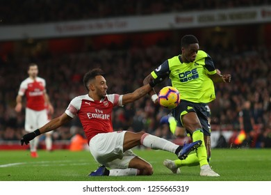 Pierre-Emerick Aubameyang of Arsenal and Terence Kongolo of Huddersfield Town - Arsenal v Huddersfield Town, Premier League, Emirates Stadium, London (Holloway) - 8th December 2018