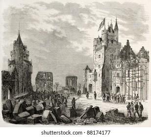 Pierrefonds castle restoration: Napoleon III visit. Created by Gaildrau, published on L'Illustration, Journal Universel, Paris, 1860