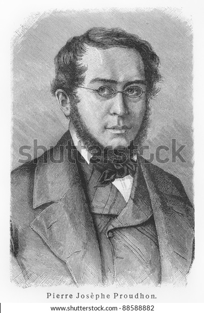 Pierre-Joseph Proudhon -  Picture from Meyers Lexicon books written in German language. Collection of 21 volumes published between 1905 and 1909.