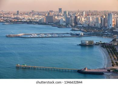 Piers in Kuwait City - aerial view. Kuwait City, Kuwait.