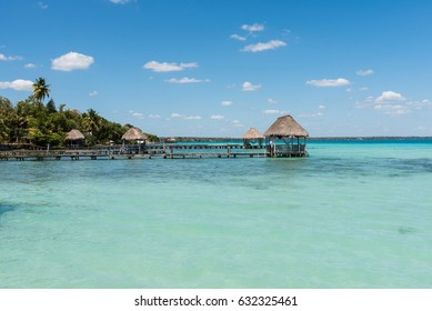 Piers on the lake in Bacalar, Mexico