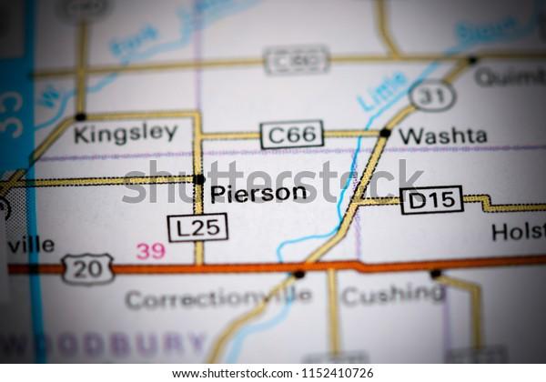Pierson. Iowa. USA on a map
