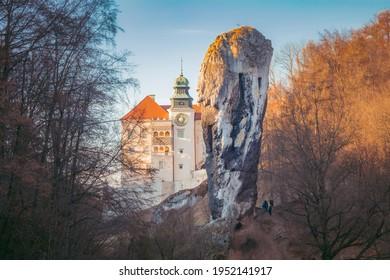 Pieskowa Skala Castle and Hercules mace. Suloszowa, Lesser Poland, Poland. - Shutterstock ID 1952141917