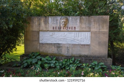 Piestany, Slovakia - 10/01/2017: Monument of Ludwig van Beethoven. The author is acadamic sculptor L.L. Polak. Impetus for the creation of the monument gave presumption of Beethoven´s visit Piestany.