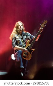 PIESTANY, SLOVAKIA - JUNE 26: Lauri Porra - bassist of Finnish power metal band Stratovarius performs on music festival Topfest in Piestany, Slovakia on June 26, 2015