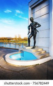 PIESTANY, SLOVAKIA - NOVEMBER 7 2017: Fountain with statue of Crutch-breaker near bridge to spa island in Piestany