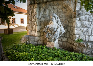 Piestany/Slovakia - 10/01/2017: Spa Piestany, bust of Sissi, the empress Austria-Hungary