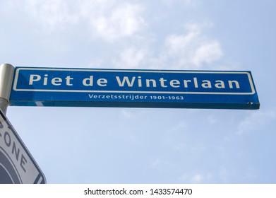 Piet De Winterlaan Street Sign At Amstelveen The Netherlands 2019