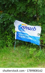 Pieterburen, the Netherland - July 16, 2020: Flag with the letters ANWB indicating the location of small camping site.