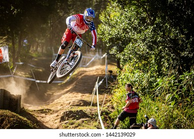 PIETERMARITZBURG, SOUTH AFRICA - APRIL 11, 2014. Aaron Gwin (USA) racing for Specialized Racing team at the UCI Mountain Bike Downhill World Cup
