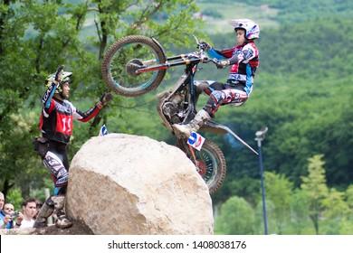 Pietramurata, Italy - May 25/26 2019:  FIM TrialGP World Championships, Arnau Farre Garcia of the Jotagas Team in action during the Trial Pietramurata Italy