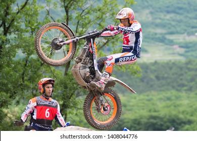 Pietramurata, Italy - May 25/26 2019: FIM TrialGP World Championships,Takahisa Fujinami of the Repsol Montesa Team in action during the Trial Pietramurata Italy