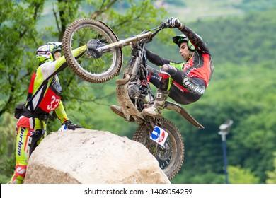 Pietramurata, Italy - May 25/26 2019: FIM TrialGP World Championships,Jorge Casales of the Vertigo Team in action during the Trial Pietramurata Italy
