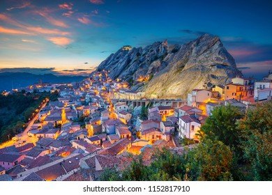 Pietrapertosa, Italy. Cityscape aerial image of medieval city of Pietrapertosa, Italy during beautiful sunset.