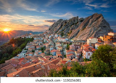 Pietrapertoza, Italy. Cityscape aerial image of medieval city of Pietrapertoza, Italy during beautiful sunset.