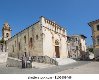 Pietrasanta  Italy _ May 24, 2018: small town in Versilia norther Tuscany  main square with  St Agostino Churh. Deconsecrated church used as museum and for cultural events