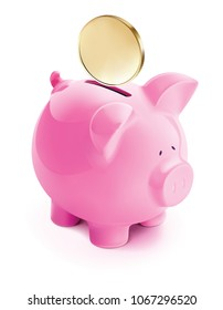 Pig bank with coin, isolated. 3d illustration