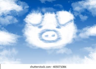 Pig cloud in the blue sky