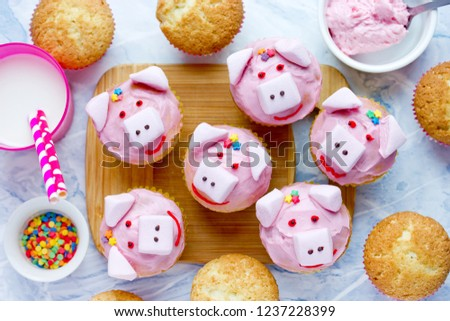 Pig Cupcakes Homemade Cakes Shaped Funny Stock Photo Edit Now