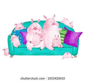 Pig family portrait. Hand drawn watercolor illustration