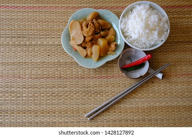 Pig intestines, Miso, ginger, chilli and Sliced radish make a braised large intestine with miso this easy for made in house the ingredient have miso, ginger, chilli and White radish daikon