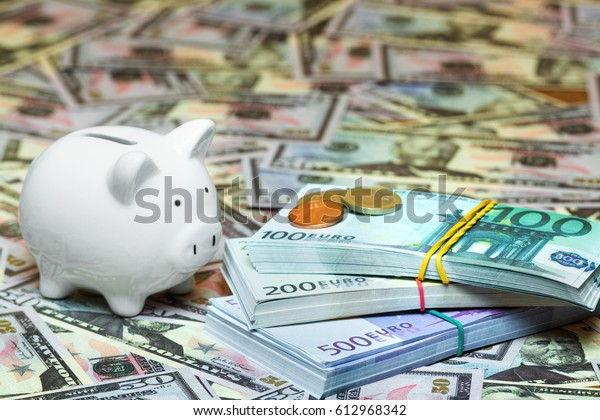 pig money box with cash, bills dollar, euro, savings, storage, wealth