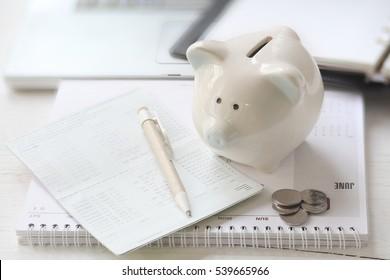 Pig piggy bank, coins, bank book .The concept of saving
