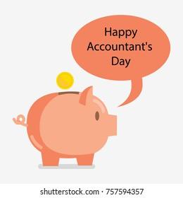 Pig saver. Accounting Day. November 10.  illustration for you design, card, banner, poster and calendar